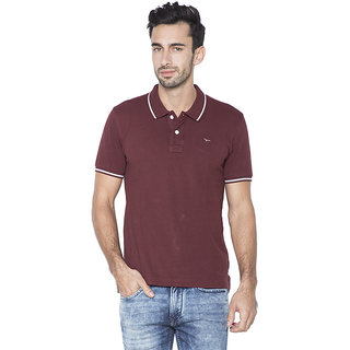 Flying Machine Solid Men's Polo Neck Maroon T-Shirt