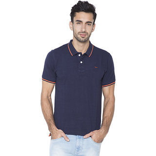 Flying Machine Solid Men's Polo Neck Blue T-Shirt