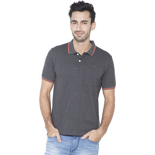 Flying Machine Solid Men's Polo Neck Grey T-Shirt