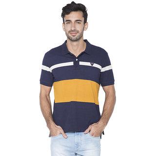 Flying Machine Striped Men's Polo Neck Blue, Orange T-Shirt