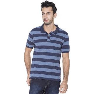 Flying Machine Striped Men's Polo Neck Blue T-Shirt