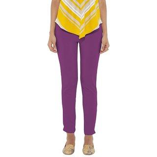 Go Colors Purple Cotton Slim Fit Mid Rise Women Short Casual Pant