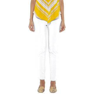 Go Colors White Cotton Slim Fit Mid Rise Women Tall Casual Pant