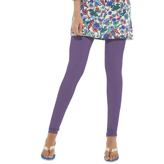 Go Colors Purple Cotton Lycra Solid Churidar