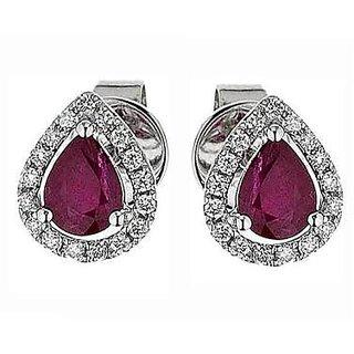 CZ  ruby Stone Drop Shape Stud Earrings by ZeyZes