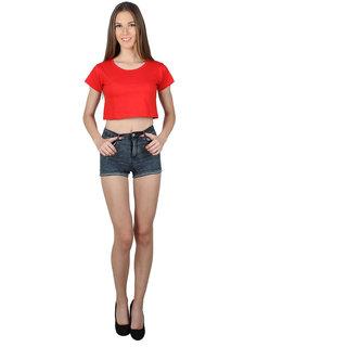 SayItLoud Half Sleeve Red  Colour Solid Crop top