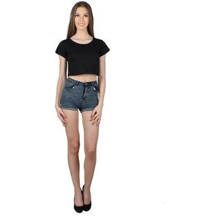 SayItLoud Half Sleeve Black Colour Solid Crop top