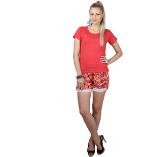 SayItLoud Half Sleeve Red Melange Colour Women's Solid Tshirt
