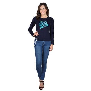 SayItLoud Full Sleeve Navy blue Colour Printed Women's Tshirt