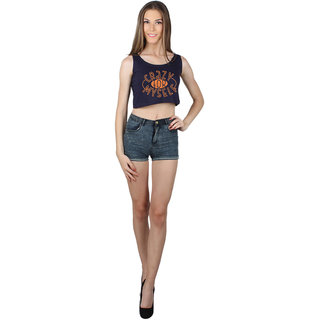 SayItLoud Sleeveless Navy Blue Colour Printed Crop top