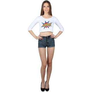 SayItLoud 3/4 Sleeve White Colour Printed Crop top