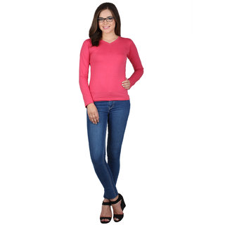 SayItLoud Full Sleeve Pink Colour Solid Women's Tshirt