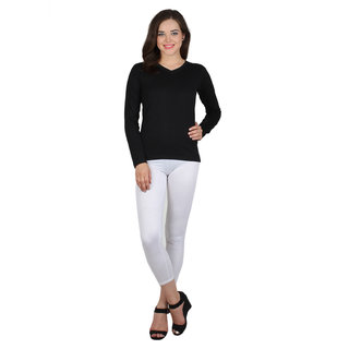 SayItLoud Full Sleeve Black Colour Solid Women's Tshirt
