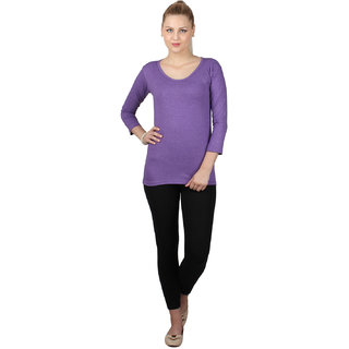 SayItLoud 3/4th sleeve Purple Colour Women's Solid Tshirt