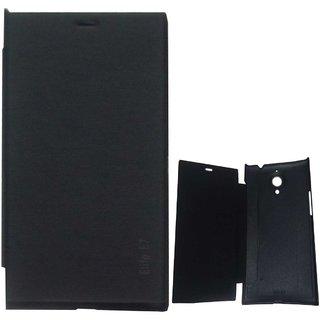 Black Premium Leather Flip Cover case for Gionee ELife E7