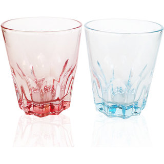 Jocular Elegant Red  Blue Wisky Glass -Set of 2