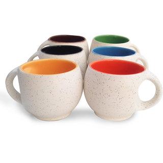 Jocular Marblefinish Multicolor Stylish Tea Cup Set Of -6