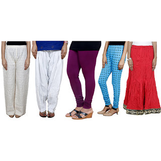 IndiWeaves Women Combo Pack offer Chikan Palazzo, Salwar, Legging, Printed Legging, Skirt (Set of 5)