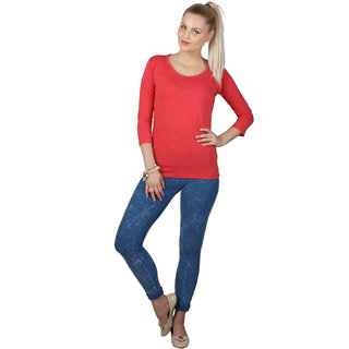 SayItLoud 3/4th sleeve Red  Melange Colour Women's Solid Tshirt