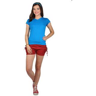 SayItLoud Half Sleeve Royal Blue Colour Solid Women's Tshirt