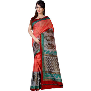 Sareemall  Art Silk Printed Saree With Unsitiched Blouse