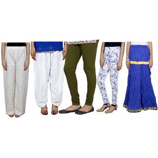 IndiWeaves Women Combo Pack offer Chikan Palazzo, Salwar, Legging, Printed Legging, Skirt (Set of 5)