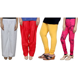 Indistar Women Combo Pack offer Chikan Palazzo, Salwar, Legging, Printed Legging (Set of 4)