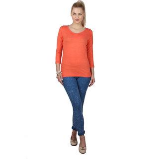 SayItLoud 3/4th sleeve Orange Melange Colour Women's Solid Tshirt