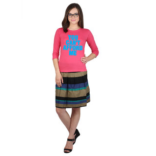 SayItLoud 3/4th sleeve Pink Colour Women's Solid Tshirt