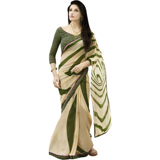 Sareemall Beige Georgette Printed Saree With Blouse