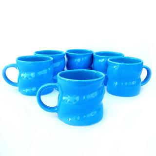 Chi Elegant Twist-Shape Sky Blue Cups-Set Of 6