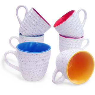 Jocular Marblefinish MultiColour Duo-Tone Mugs Set Of-6