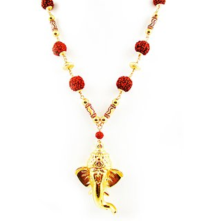 Factorywala Womens/Girls Ganesha with Rudraksh Beads Necklace( Gold  Maroon)