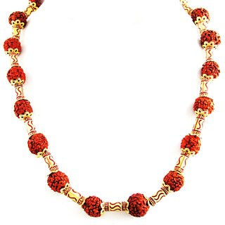 Factorywala Womens/Girls Religious Fashionable Rudraksh Beads Necklace( Gold  Maroon)
