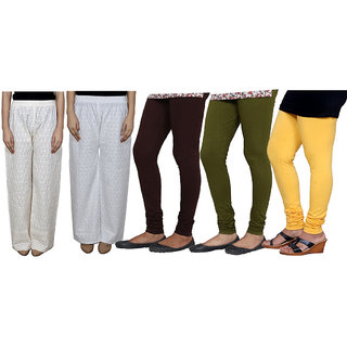 IndiWeaves Women Attractive Combo Pack offer 2 Chikan Palazzo with 3 Bio Wash Leggings (Set of 5)