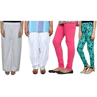 IndiWeaves Women Combo Pack offer Chikan Palazzo, Salwar, Legging, Printed Legging (Set of 4)