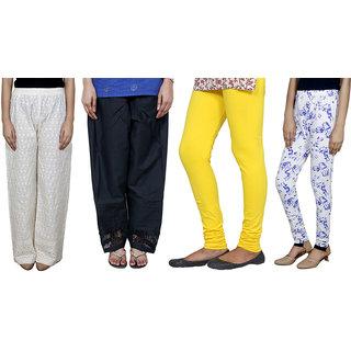 IndiWeaves Women Combo Pack offer Chikan Palazzo, Salwar, Legging, Printed Legging (Set of 4)