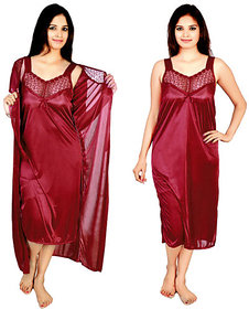 @rk Bridal.,hot women ,Baby doll 2 PC set of satin Nighty or Maxy or Gown/Night Dress for ladies