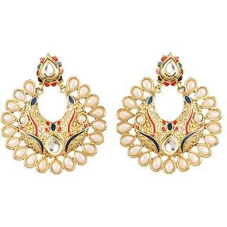 Kriaa Gold Plated White kundan And Pearl Drop Earrings