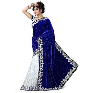 kanak white brasso saree with blue velvet pallu