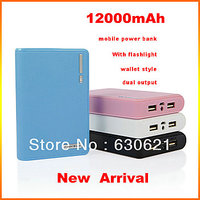 Wallet Style 12000mah Usb Power Bank  Battery Charger With Flash Light