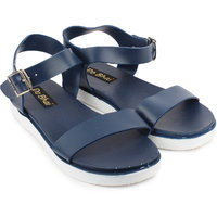 Do Bhai Women's Blue Buckle Sandals