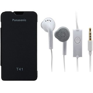 Ready Durable PU Leather Flip Cover For Panasonic T41 (Black)+Handsfree for Samsung and all 3.5 mm jack Mobile  Accessory Combo