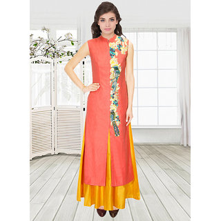 New Yellow  Orange Embroidered Jacket Kurta With Skirt Lehenga