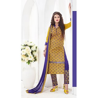 Ladyview Yellow  Blue Embroidered Cotton Sami Lawn Dress Material
