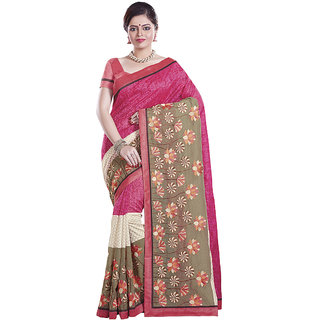 Sati Graceful Magenta And Beige Coloured Chanderi Saree