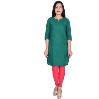 Green cotton casual long plain kurti