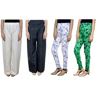 Indistar Women Attractive Combo Pack offer 2 Chikan Palazzo with 2 Printed Leggings (Set of 4)