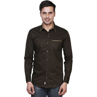 EL FIGO Brown Slim Casual Shirts For Men