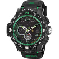 Laurels Round Dial Black Analog-Digital Watch For Men-L